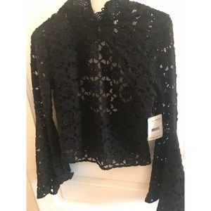 NWT Black Free People crochet Lace Top Small